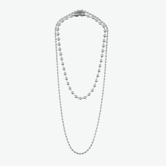 DOUBLE NECKLACE BALL (SILVER)