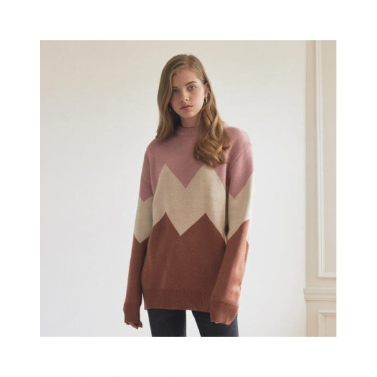 ALPS KNIT _ PINK-BROWN