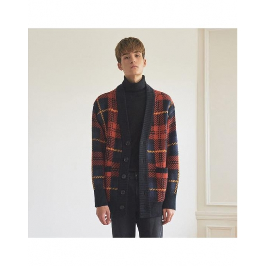 OVERSIZE CHECK CARDIGAN _ RED-NAVY