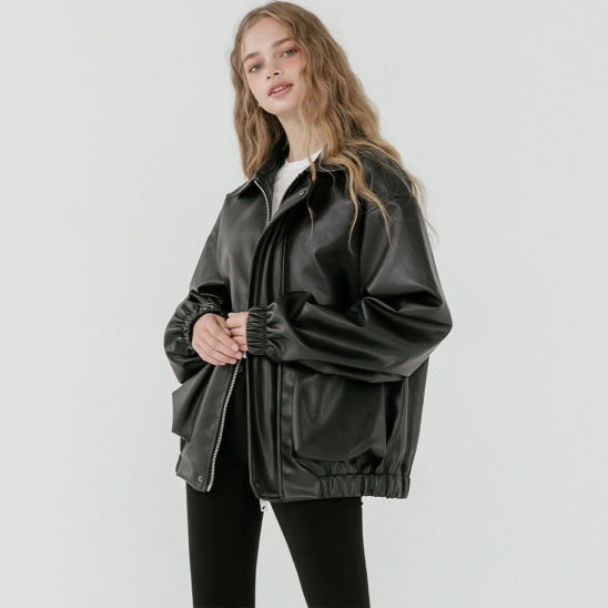 LV Overfit leather band blouson