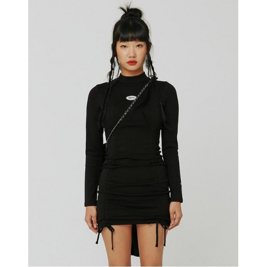 [KITS] 셔링 폰테 드레스 블랙 (SHIRRING PONTE DRESS BLACK)