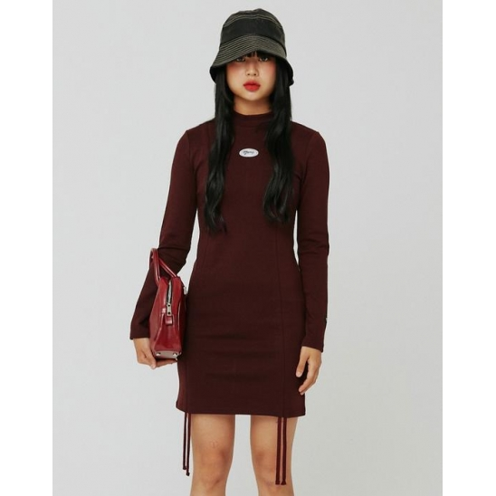 [KITS] 셔링 폰테 드레스 버건디 (SHIRRING PONTE DRESS BURGUNDY)