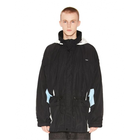 COLOR BLOCK WINDBREAKER PARKA black
