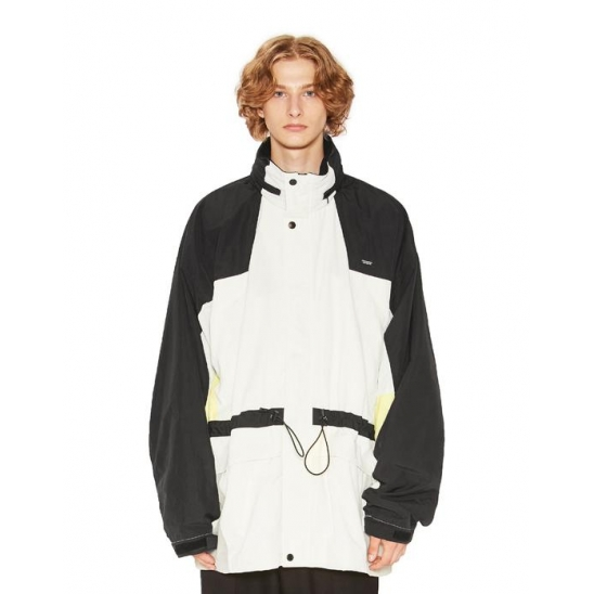 COLOR BLOCK WINDBREAKER PARKA ivory