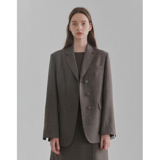 HIDDEN BUTTON SINGLE BLAZER WOMEN [BROWN]