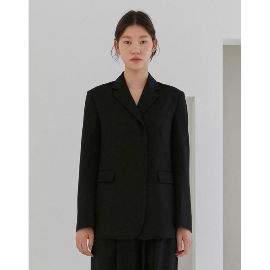 HIDDEN BUTTON SINGLE BLAZER WOMEN [BLACK]