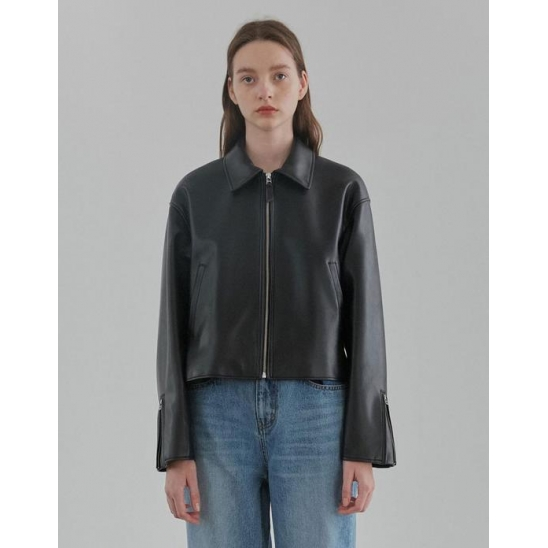 SINGLE LEATHER JACKET WOMEN [BLACK]