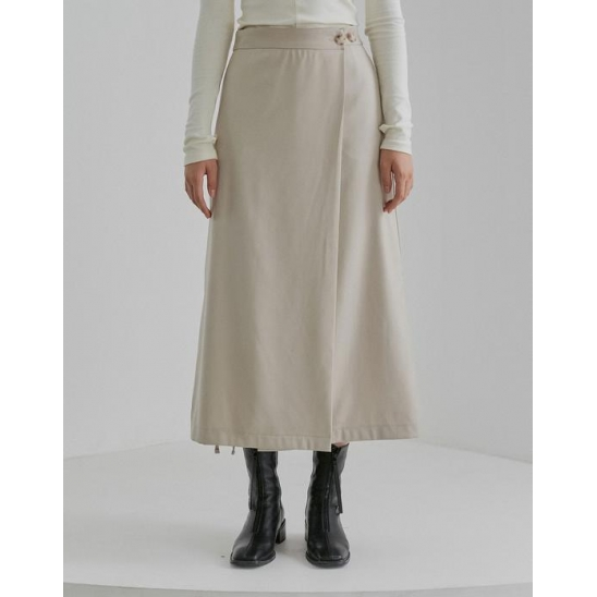 LONG WRAP SKIRT WOMEN [LIGHT BEIGE]