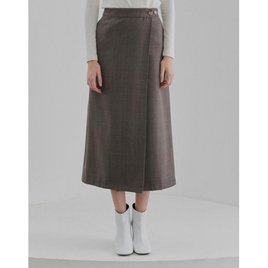LONG WRAP SKIRT WOMEN [BROWN]