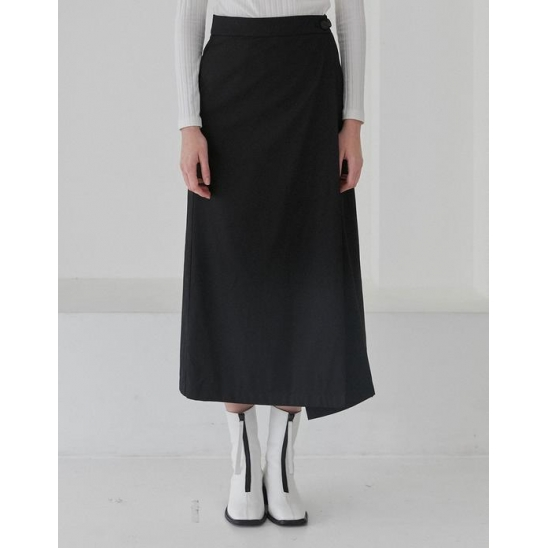 LONG WRAP SKIRT WOMEN [BLACK]