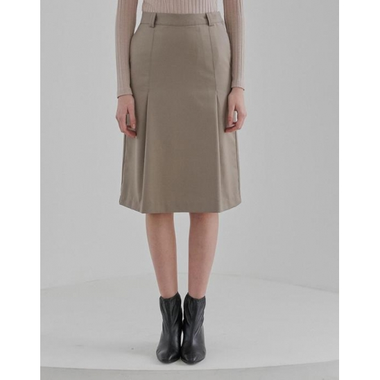 ONE TUCK MIDI SKIRT WOMEN [DARK BEIGE]