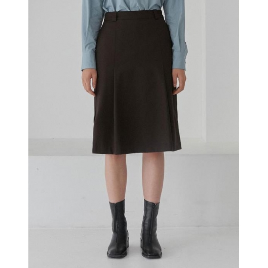 ONE TUCK MIDI SKIRT WOMEN [BROWN]