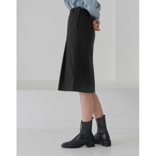 ONE TUCK MIDI SKIRT WOMEN [BLACK]