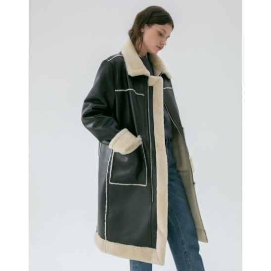 POCKET LONG SHEARING COAT BLACK