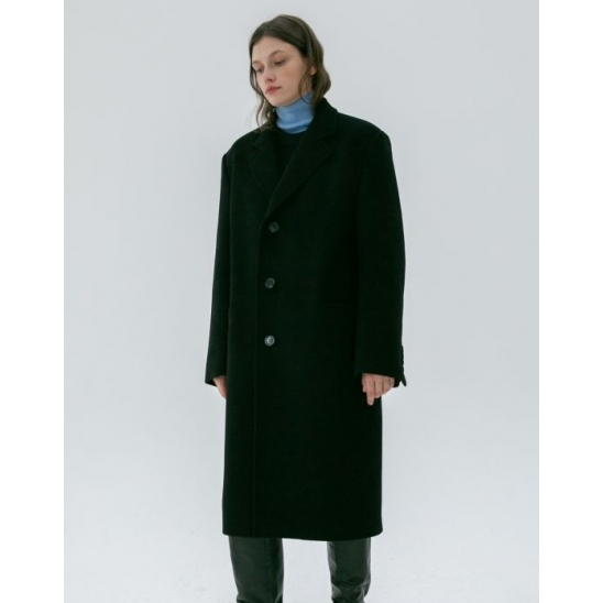 UNISEX SINGLE 3 BUTTON CASHEMERE COAT BLACK