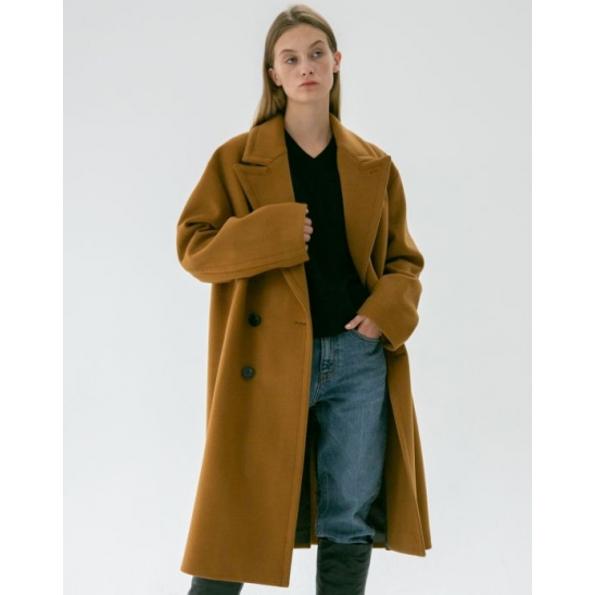 UNISEX OVERSIZED DOUBLE CASHMERE COAT CAMEL