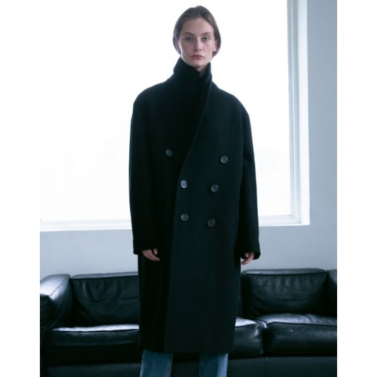 UNISEX OVERSIZED DOUBLE CASHMERE COAT BLACK