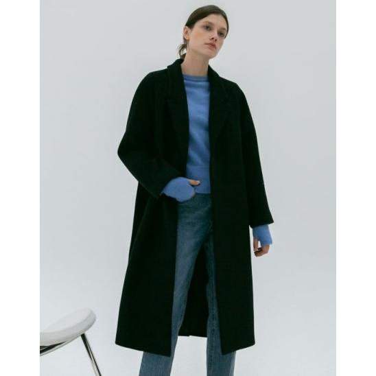 RAGLAN BELTED WOOL COAT BLACK