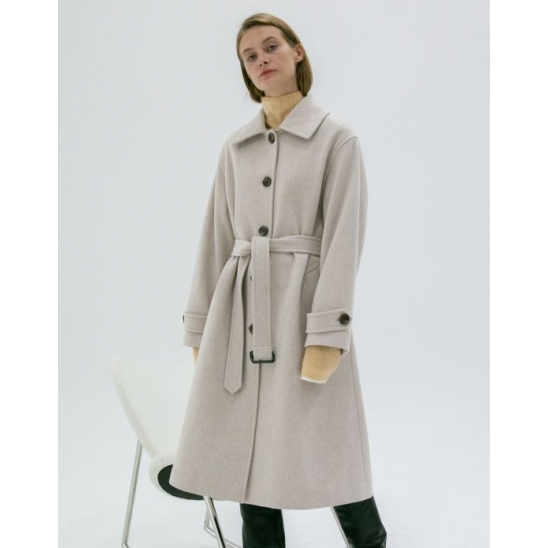 A-LINE BELTED SINGLE WOOL COAT IVORY