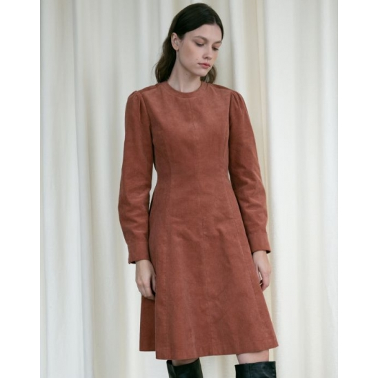 CORDUROY PUFF SLEEVE FLARE DRESS ORANGE BROWN