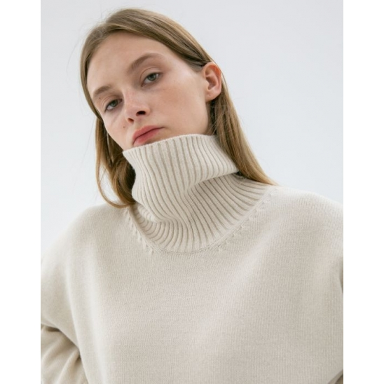 UNISEX OVERSIZED TURTLENECK WOOL SWEATER BONE