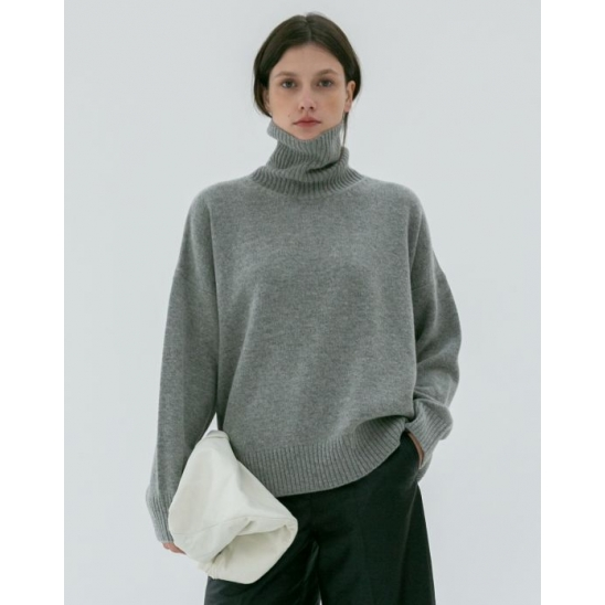 UNISEX OVERSIZED TURTLENECK WOOL SWEATER MELANGE GREY