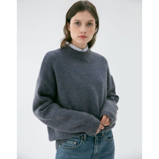 UNISEX HAIRY MOCK-NECK WOOL SWEATER MELANGE BLUE