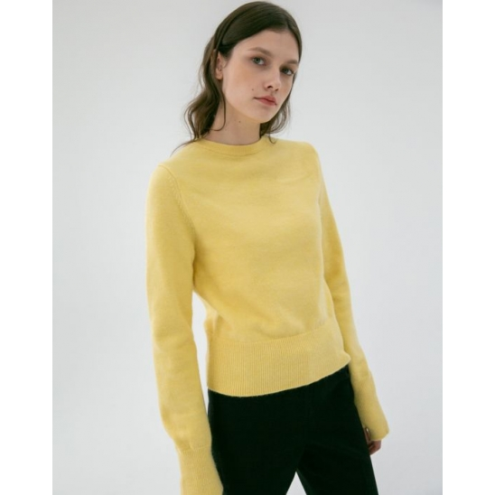 THUMBHOLE CUFF SWEATER LEMON
