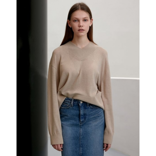 WIDE RIB V-NECK WOOL SWEATER STONE