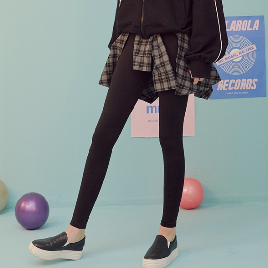 (LS-19564) CHECK TIED-UP LEGGINGS BLACK