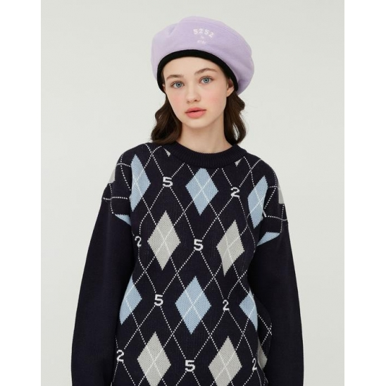 52 ARGYLE KNIT PULLOVER_NAVY