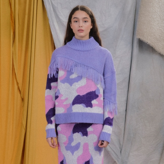 FRINGING CAMOUFLAGE KNIT TOP_L.PURPLE (EEON4NTR02W)