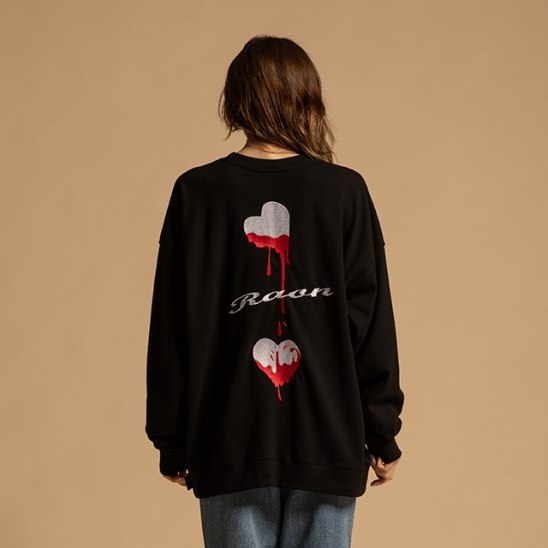[라온] Unisex heart beat Sweatshirt (BK)