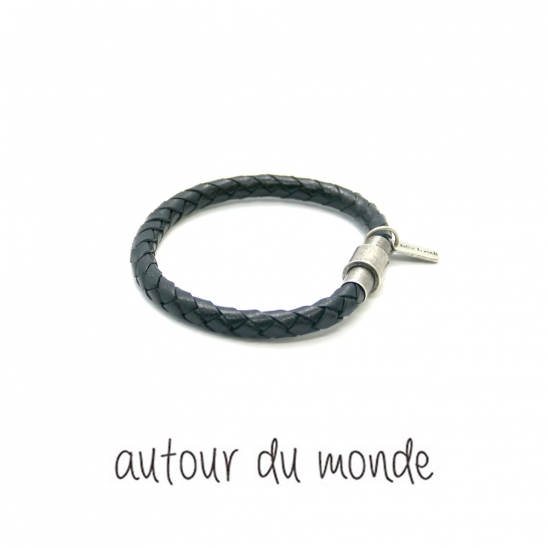 classic leather men bracelet (black)