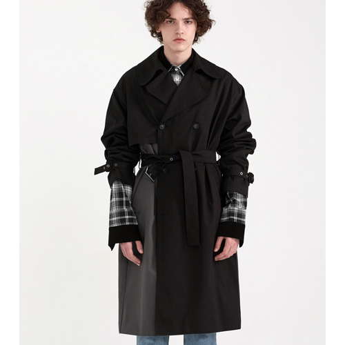 [PREMIUM] COLOR BLOCKING MILITARY TRENCH [OVER FIT] BLACK