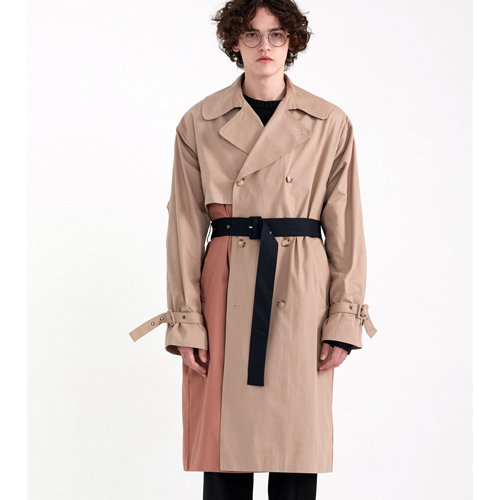 [PREMIUM] COLOR BLOCKING MILITARY TRENCH [OVER FIT] BEIGE