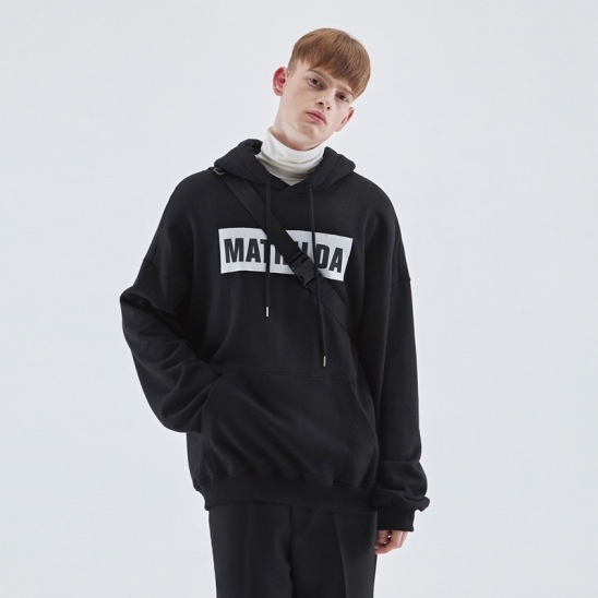 OVER-FIT NAPPING LOGO HOODIE_BLACK