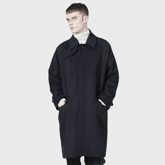 441# WOOL BALMACAAN COAT BLACK