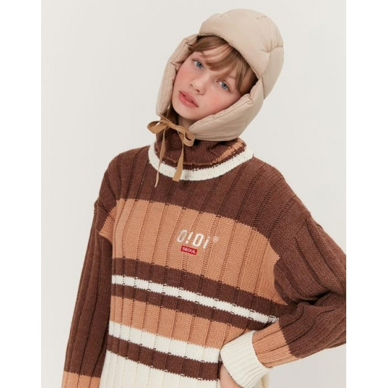 TURTLE NECK HEAVY KNIT_BROWN
