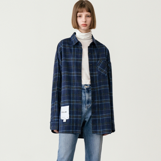 LV [남,여] Overfit vintage check shirt_navy