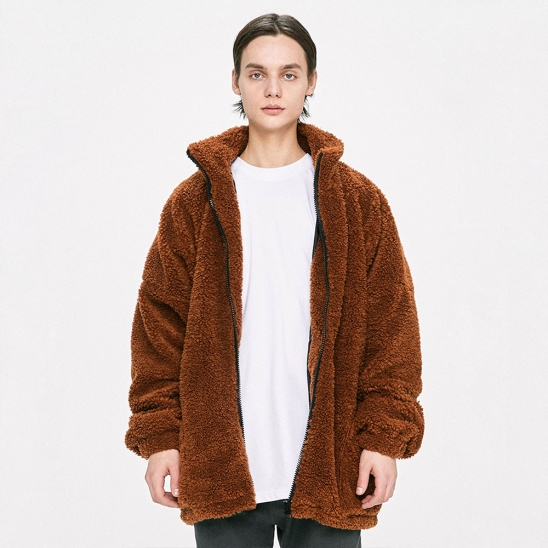 Oversized Shearling Jacket - Brown