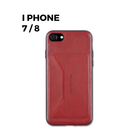 Faux leather Card Holder Phone Case 7/8 [vintage red]