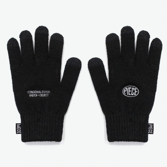 CIRCLE LOGO SMART GLOVES (BLACK)