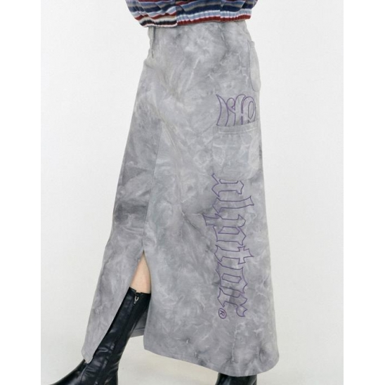 Tie Dye Napping Long Skirt [gray]