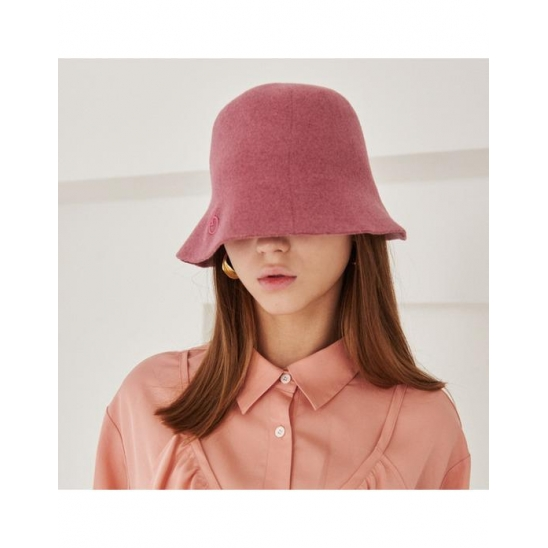 FELT BUCKET HAT WITH LOGO (PINK)