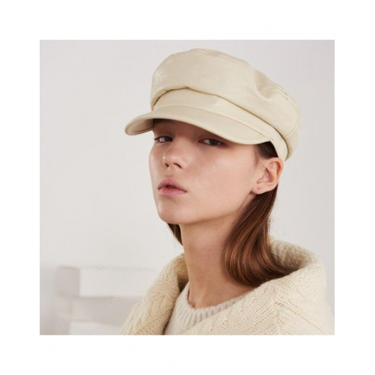LEATHER GREEK FISHERMAN CAP (IVORY)