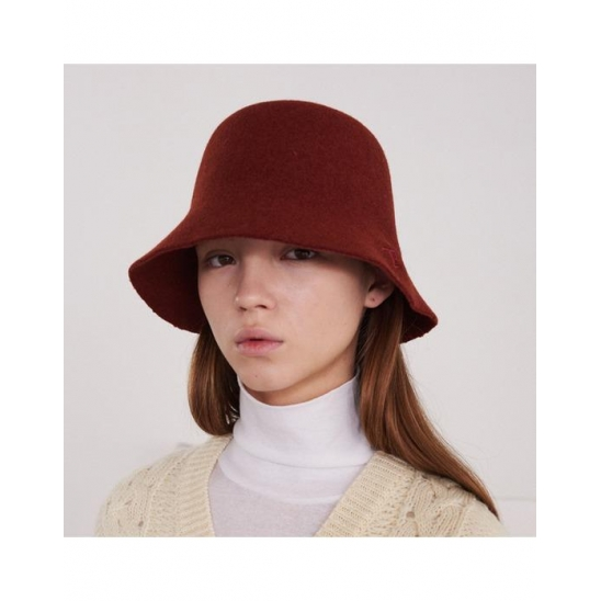 FELT BUCKET HAT WITH LOGO (BRICK-RED)