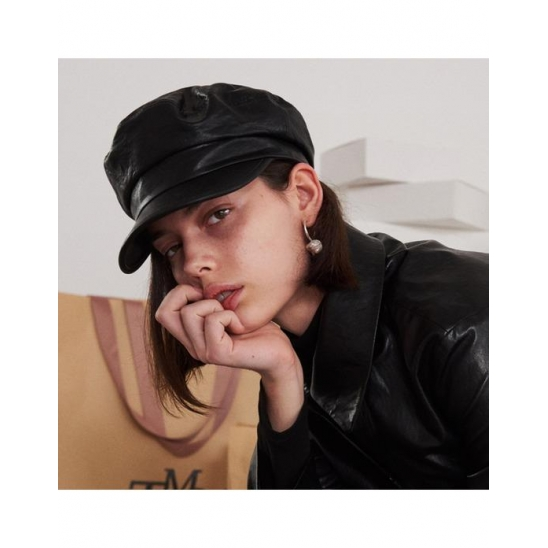 LEATHER GREEK FISHERMAN CAP (BLACK)