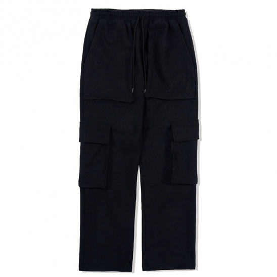 WARM CARGO PANTS-BLACK