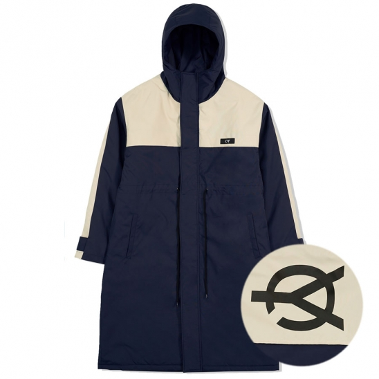 LOGO BLOCK LONG PARKA-NAVY